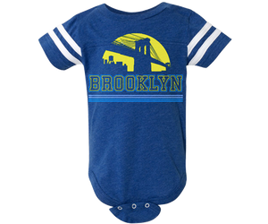 Brooklyn Baby Onesie, retro yellow and blue Brooklyn Bridge design on a blue baby onesie, handmade gifts for babies made in Brooklyn NY