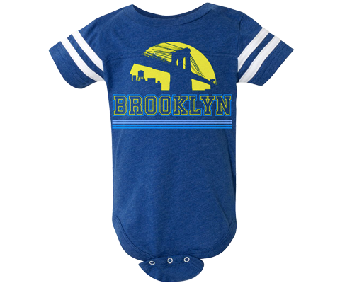 Brooklyn Yellow Sunrise Blue Stripe Onesie