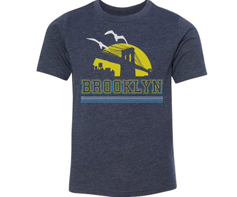 Load image into Gallery viewer, Brooklyn Yellow Sunrise Heather Blue Youth Tee