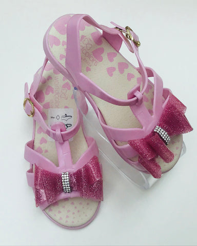 World Colors Bow Sandals Pink