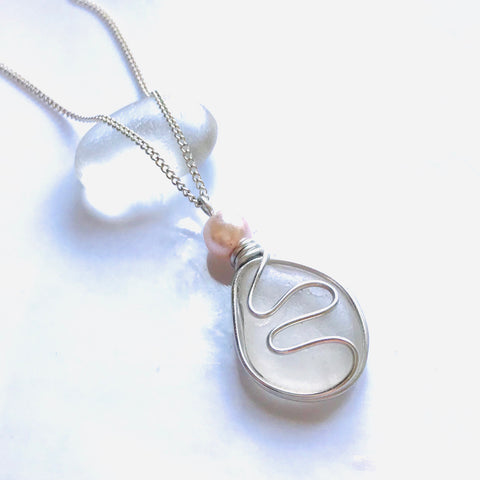 White Seaham Sea Glass Waves Pendant