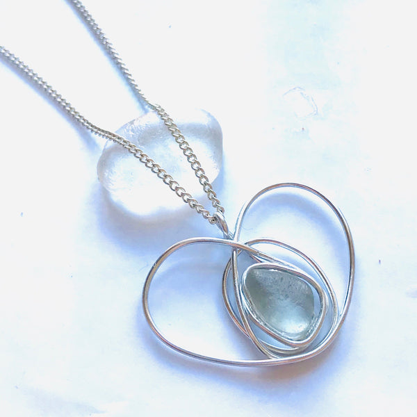 "Pale Aqua Seaham Sea Glass Heart Pendant on a 20"" Sterling Silver Chain"