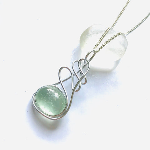 Aqua Seaham Sea Glass Swirly Pendant