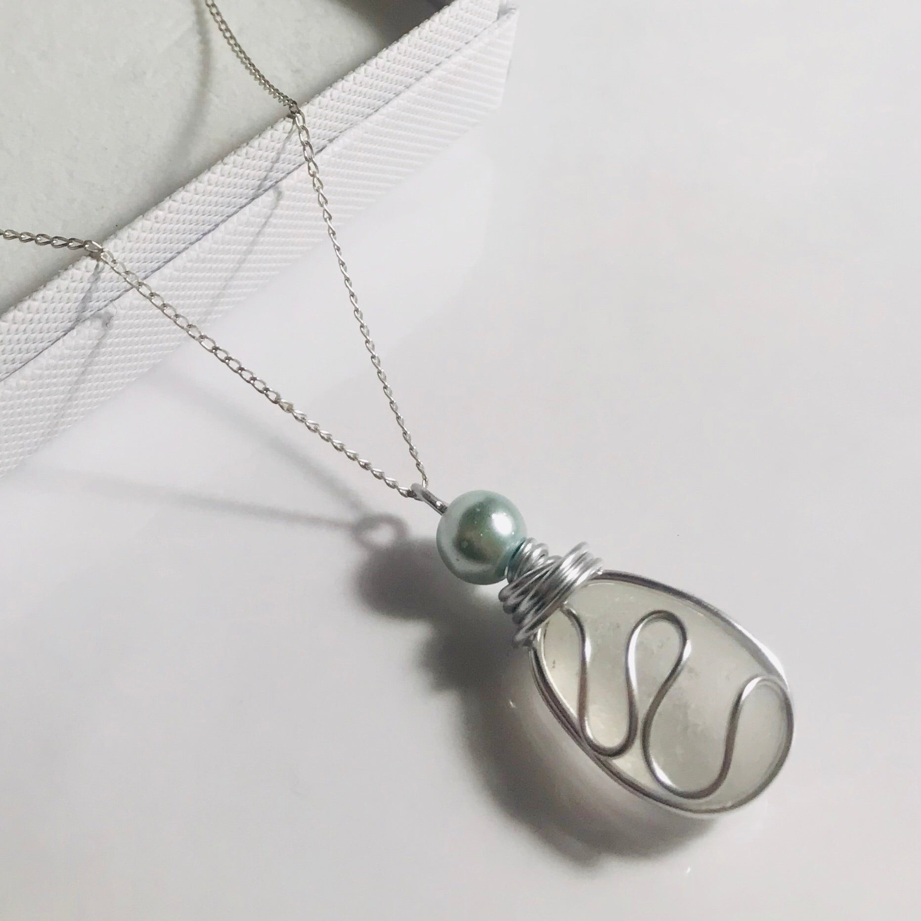 "Sea Swirls White Seaham Sea Glass Pendant On a 20"" Sterling Silver Chain"