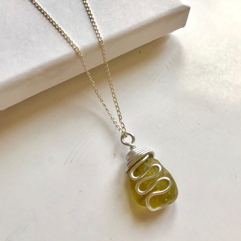 "Yellow Waves Seaham Sea Glass Pendant On 20"" Sterling Silver Chain"