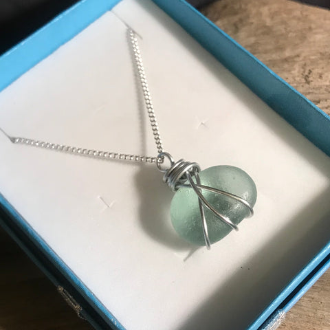 Aqua Seaham Sea Glass Nugget Pendant