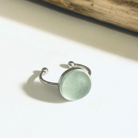Stainless Steel Adjustable Seaham Sea Glass Ring