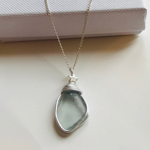 "Pale Blue Seaham Sea Glass Pendant on a 20"" Sterling silver chain"