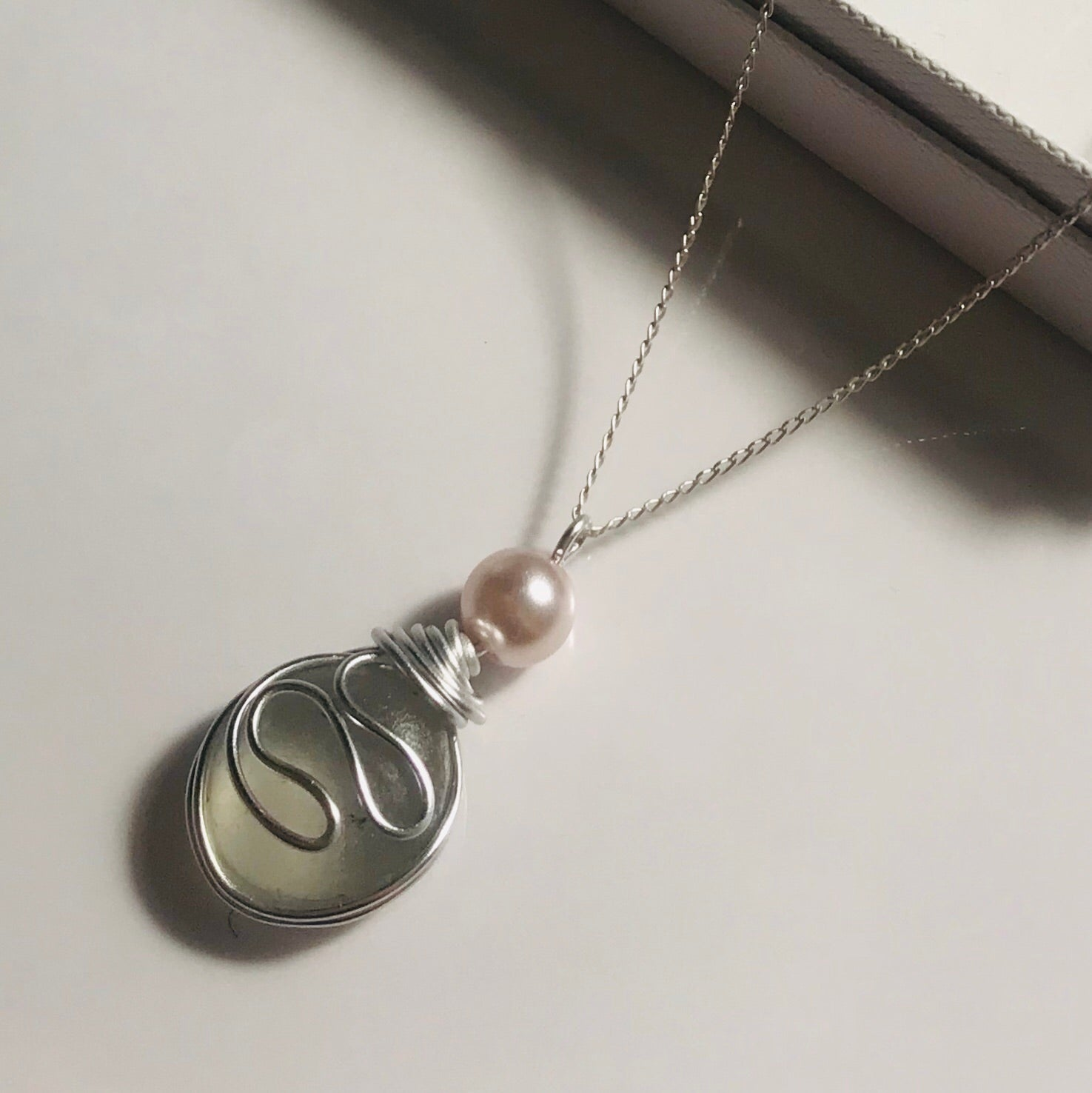 "White Sea Swirls Sea Glass Pendant On a 20"" Sterling Silver Chain"