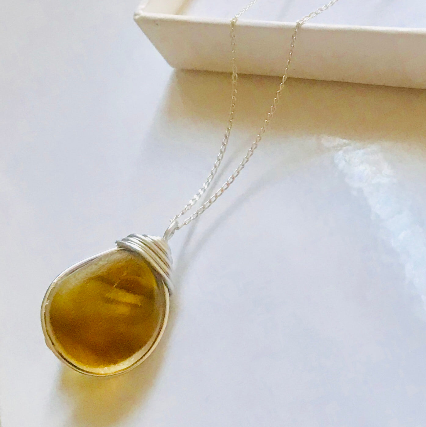 "Yellow & Orange Seaham Sea Glass Pendant On a 20"" Sterling Silver Chain"