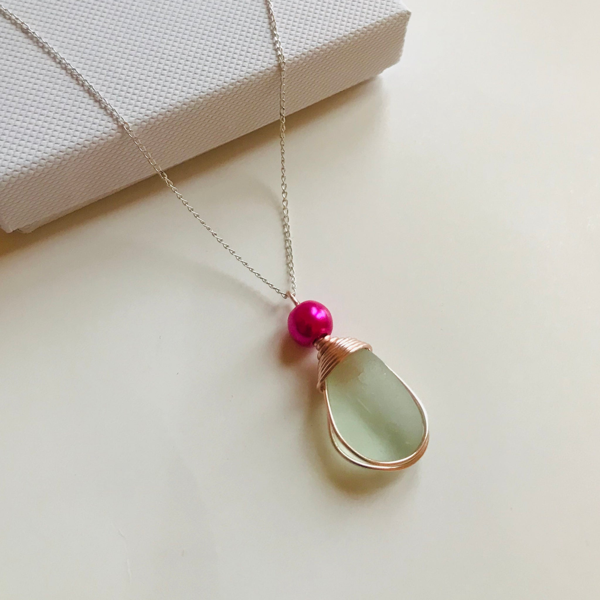 "Pale Green Sea Glass Pendant On a 20"" Sterling Silver Chain"