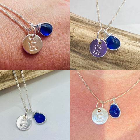 Initial and Sea Glass Pendants- Choose Initial