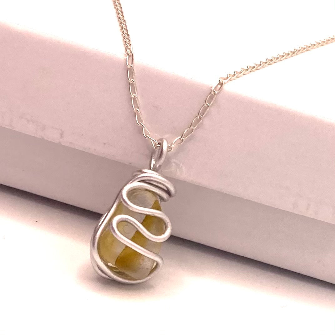 Yellow and White Seaham Sea Glass Pendant