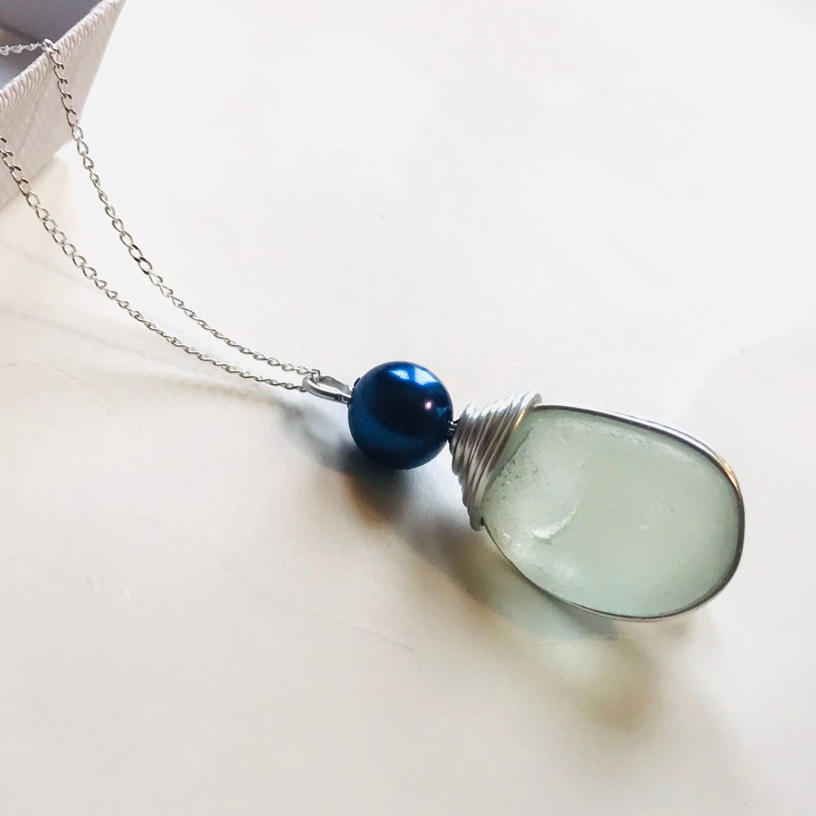 "Large Seafoam Seaham Sea Glass Pendant on a 20"" Sterling silver chain"