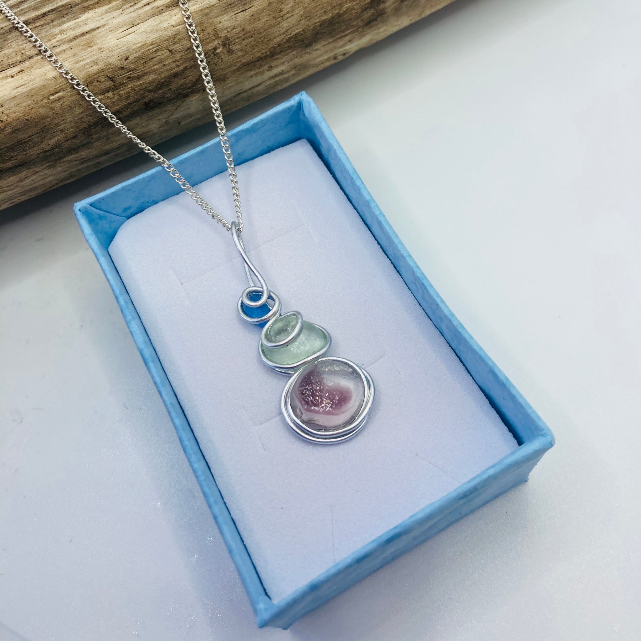 Three Piece Lilac Green and Blue Seaham Sea Glass Pendant