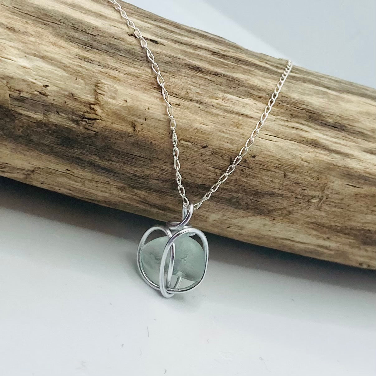 Pembrokeshire Sea Glass Seafoam Heart Pendant