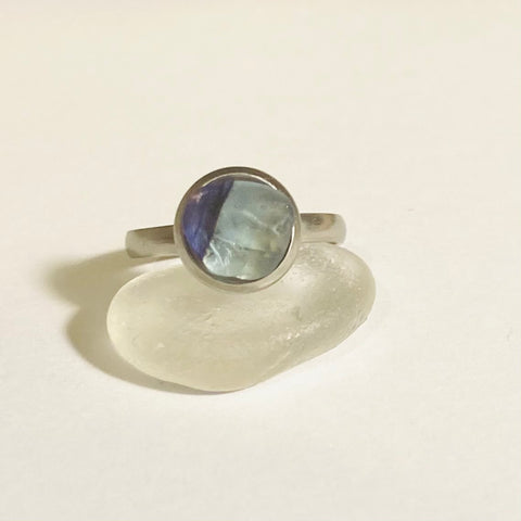 Blue Multi Tone Stainless Steel Adjustable Seaham Sea Glass Ring