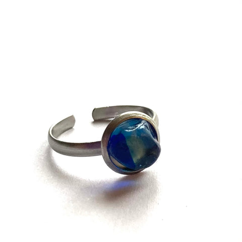 Blue Stainless Steel Adjustable Seaham Sea Glass Ring