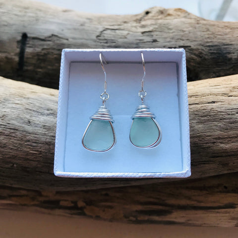 Aqua Sea Foam Seaham Sea Glass Earrings On Sterling Silver Hooks
