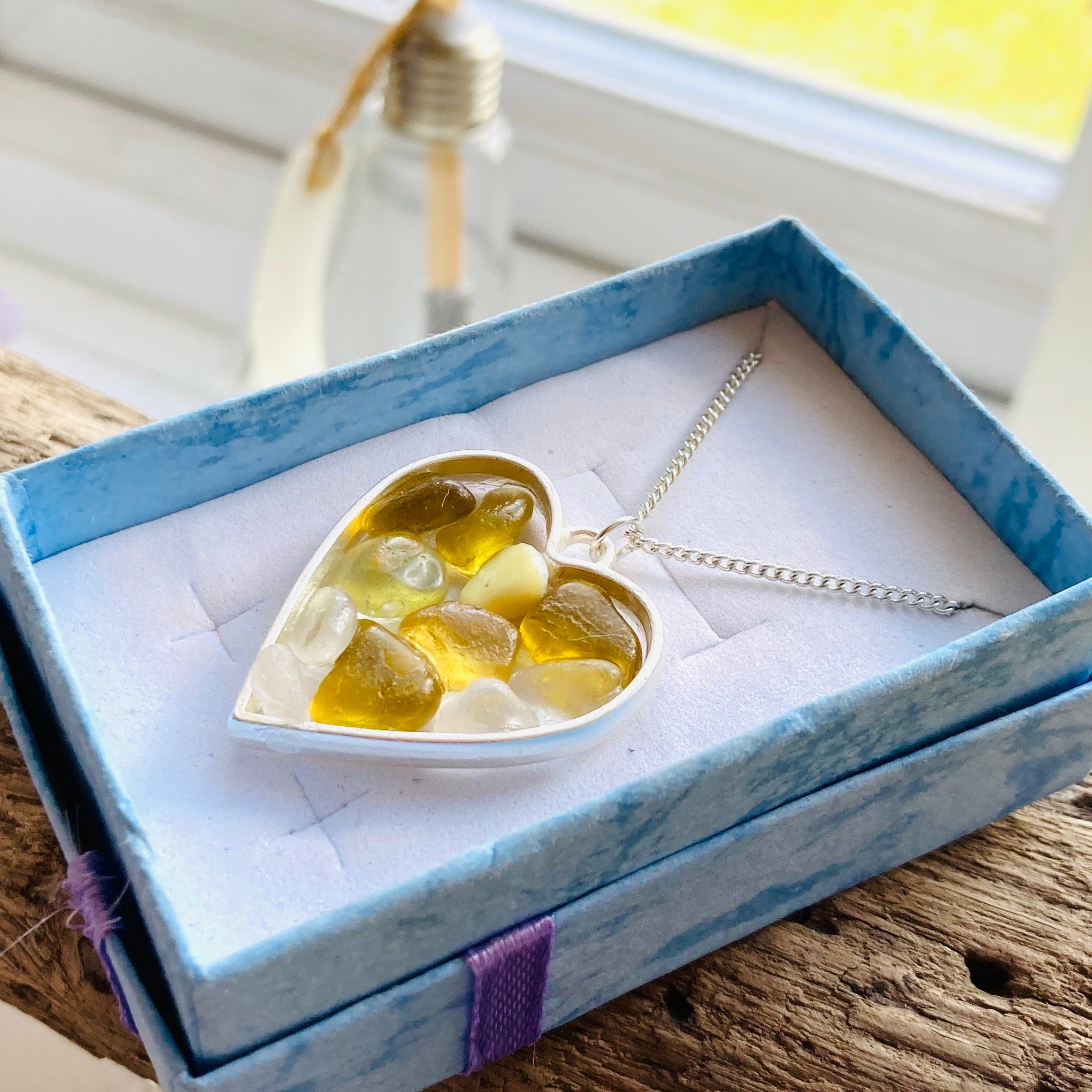 "Yellow Seaham Sea Glass Pendant on a 20"" Sterling Silver Chain"