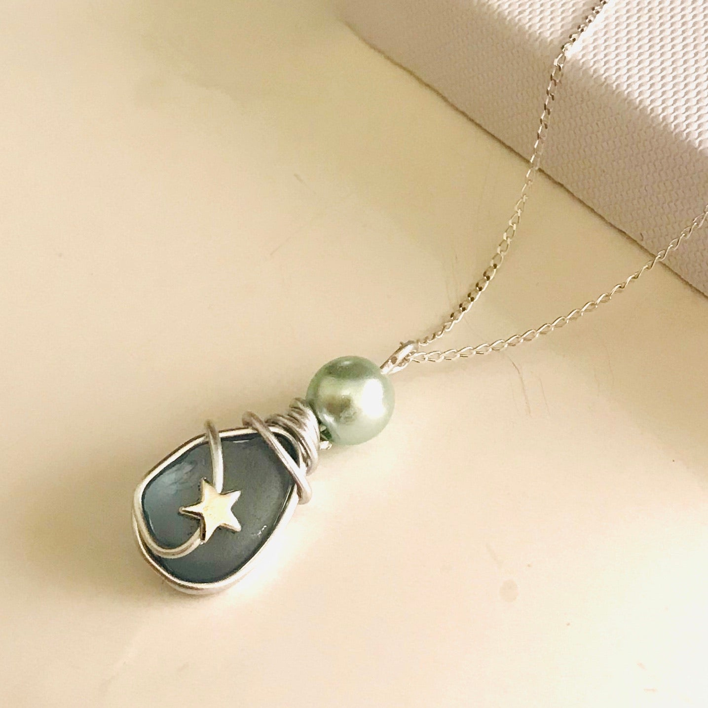 Dusky Blue Seaham Sea Glass Mini Star Pendant