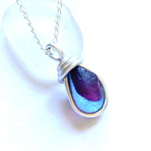 Purple Seaham Sea Glass Mini Multi Pendant