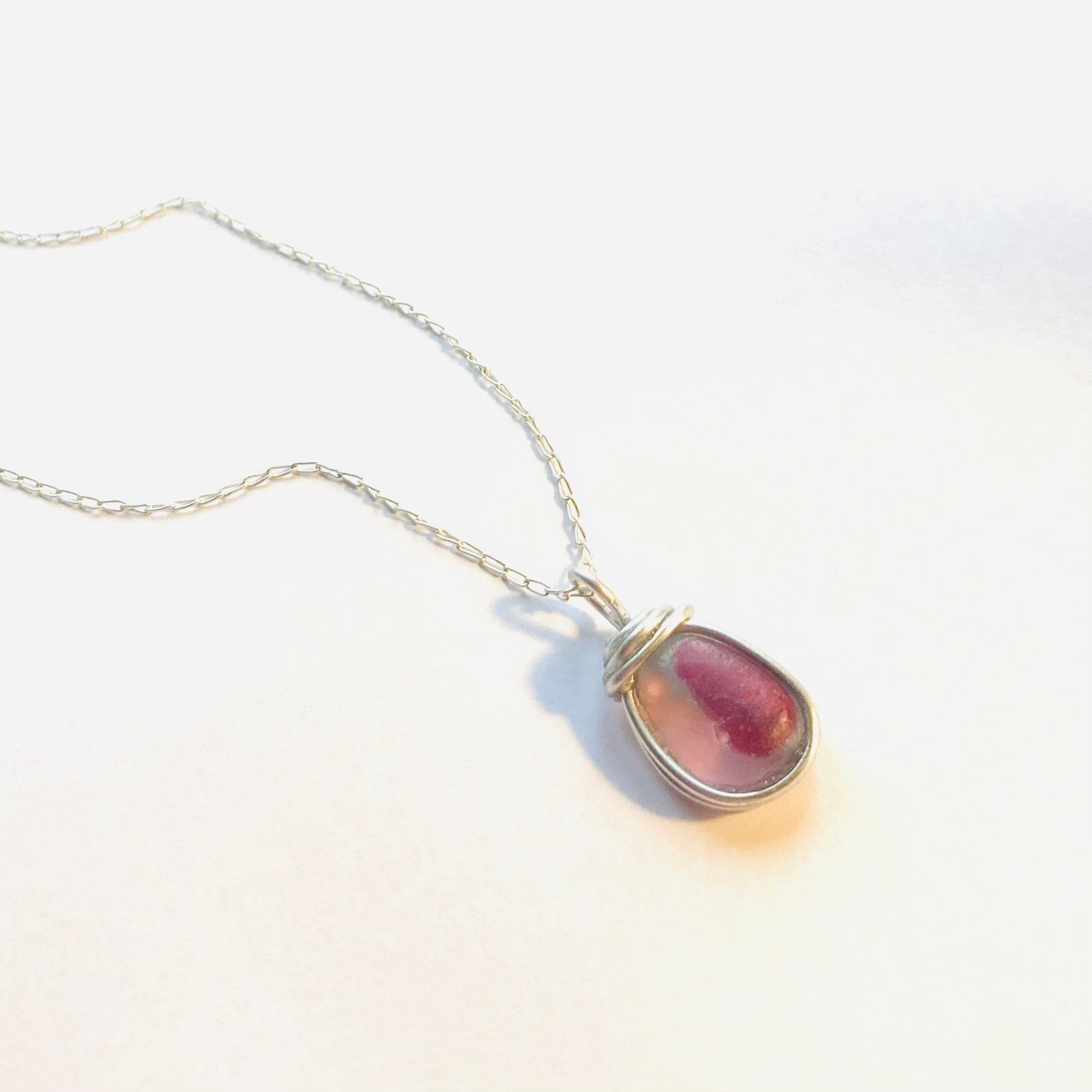 Seaham Sea Glass Pink Pendant