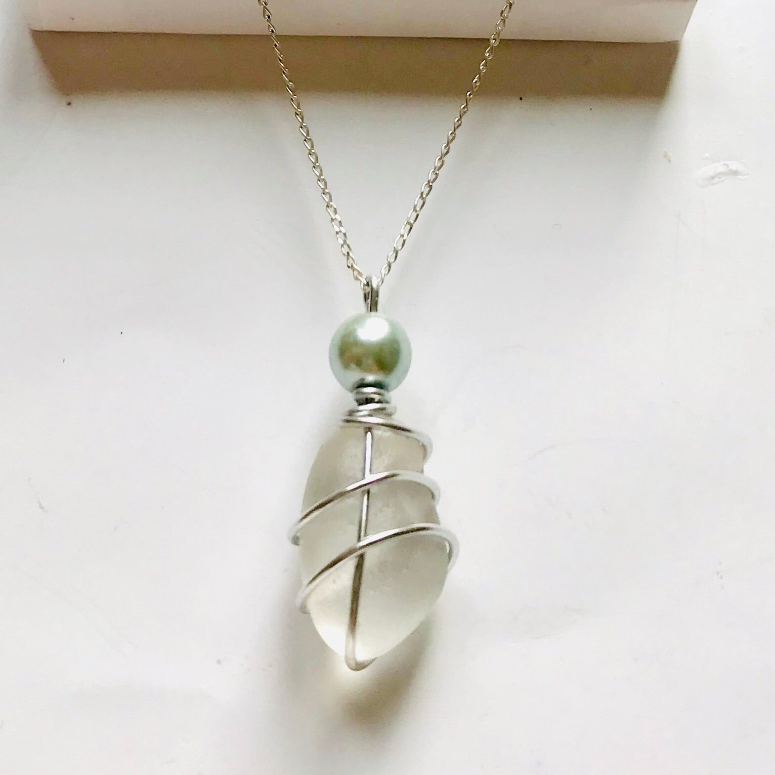 "White Seaham Sea Glass Pendant On 20"" Sterling Silver Chain"