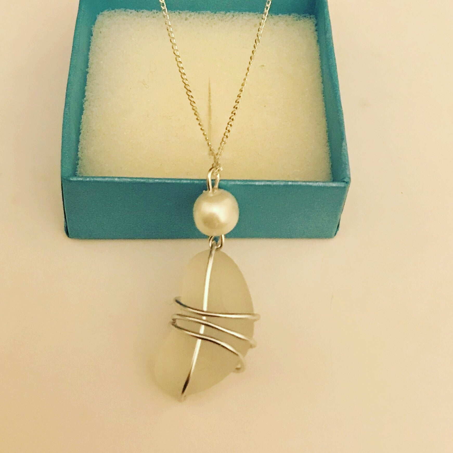 "Chunky White Seaham Sea Glass -On 20"" Sterling Silver Chain"