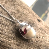 Red Flash Seaham Sea Glass and Pebble Pendant
