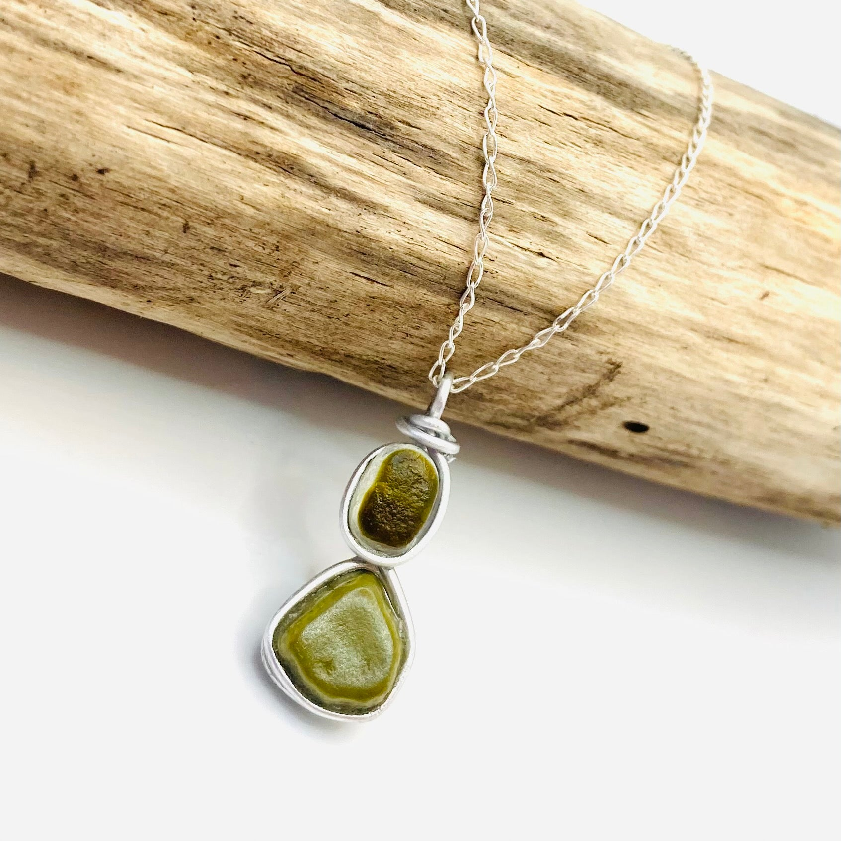 Autumnal Olive Shades Seaham Sea Glass Multi and Milk Glass Pendant