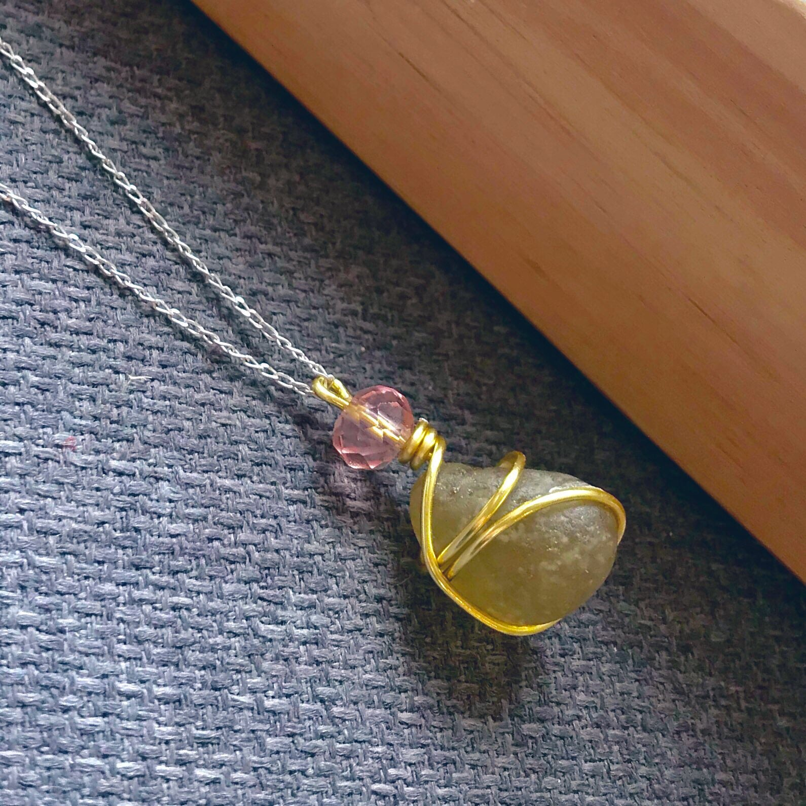"Yellow Seaham Sea Glass Pendant On 20"" Sterling Silver Chain"