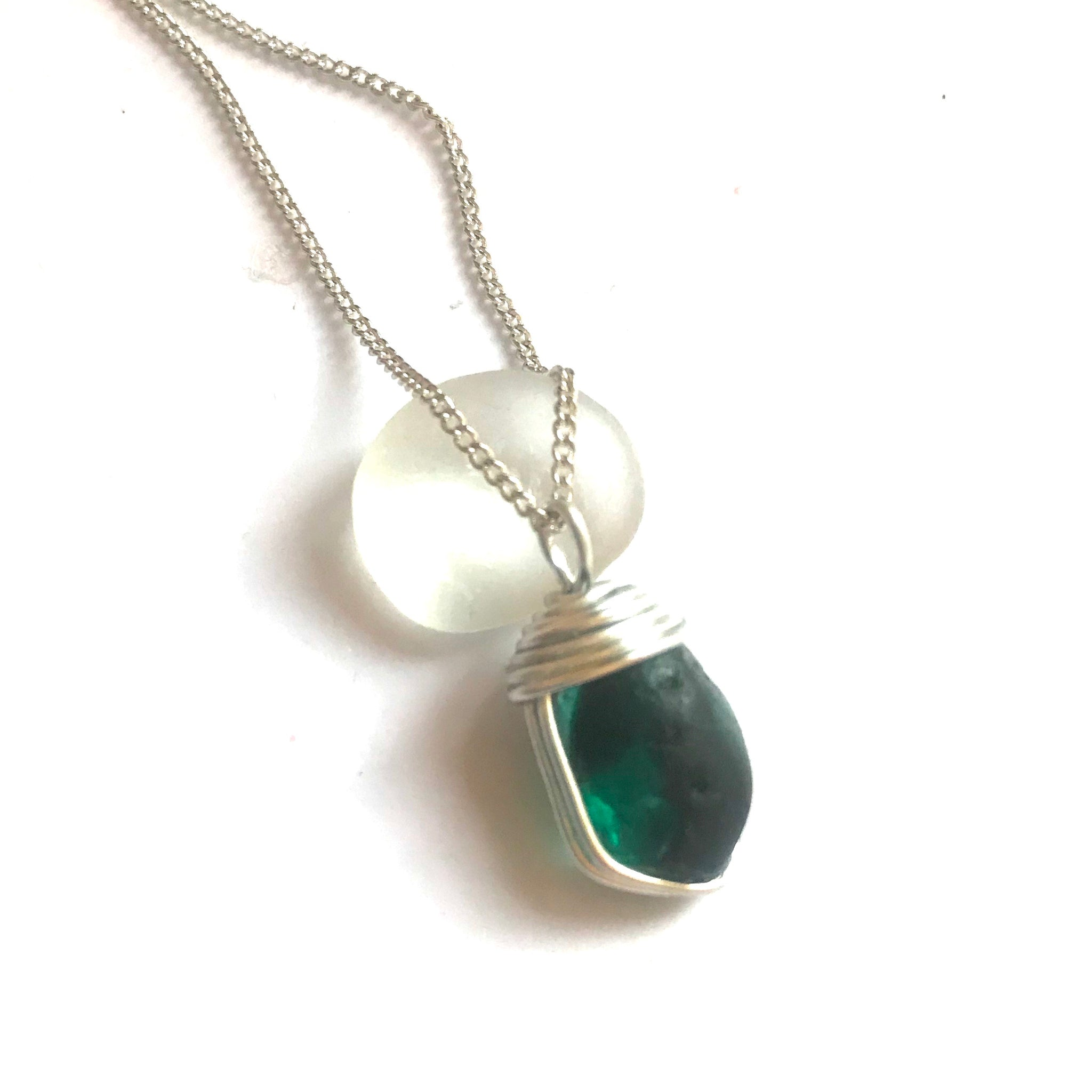 "Turquoise Seaham Sea Glass Multi Tone Pendant On 20"" Sterling Silver Chain"