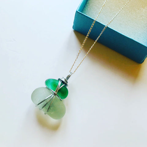 Stacked Seaham Seaglass - Two pieces together in a Pendant