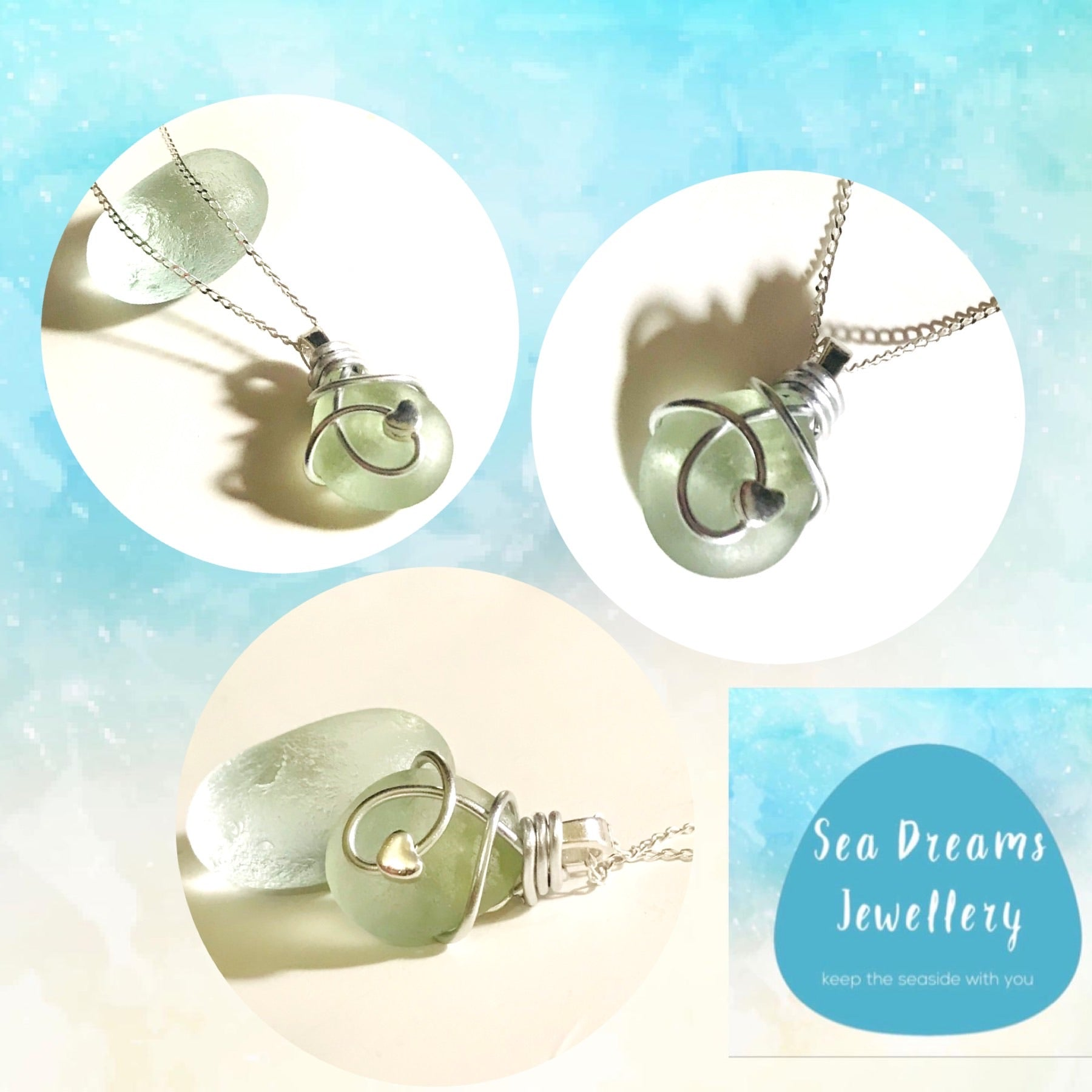 "Pale Green Seaham Sea Glass Mini Heart Pendant on a 20"" Sterling silver chain"