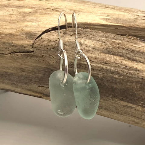 Aqua Seaham Sea Glass Sterling Silver Earrings