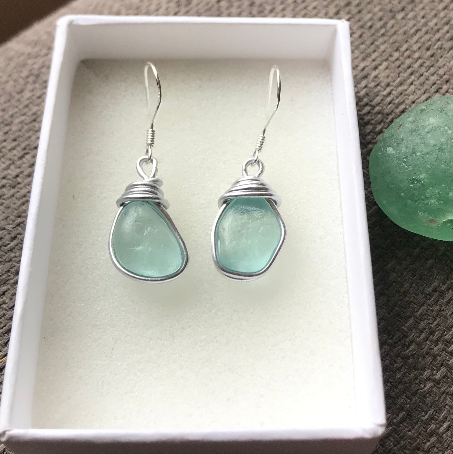 Aqua Dangly Seaham Sea Glass Earrings