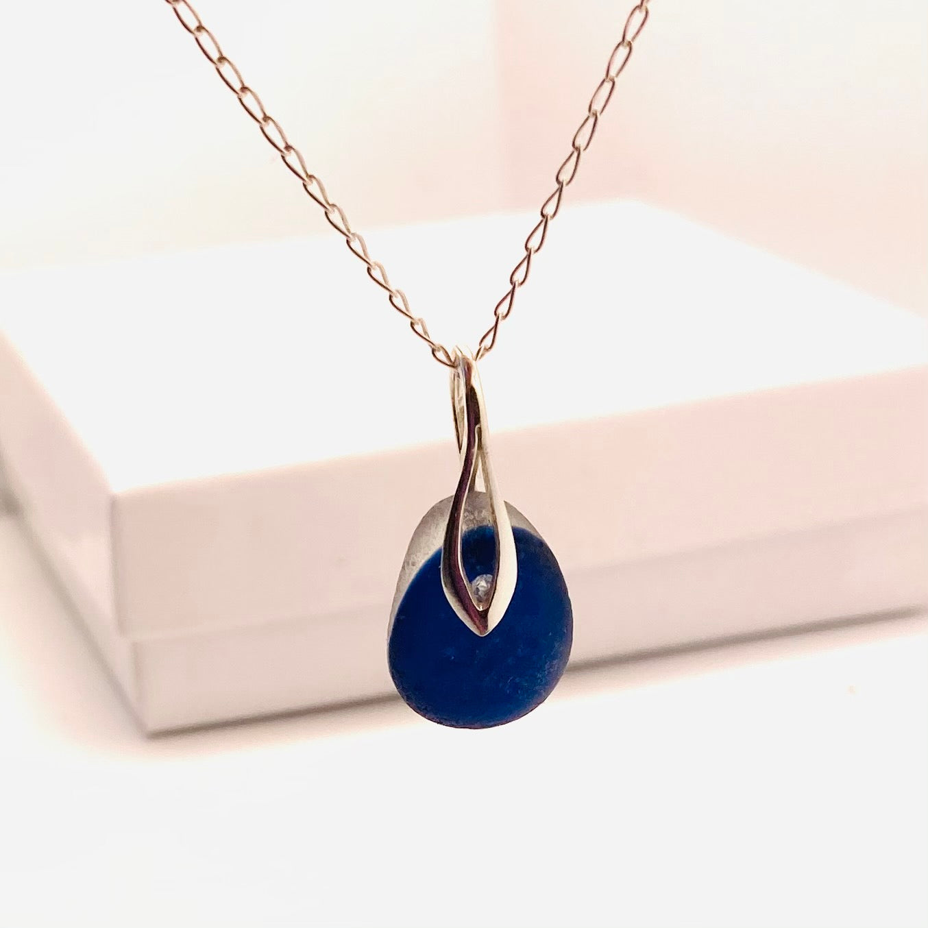 Blue Seaham Sea Glass Multi on Sterling Silver