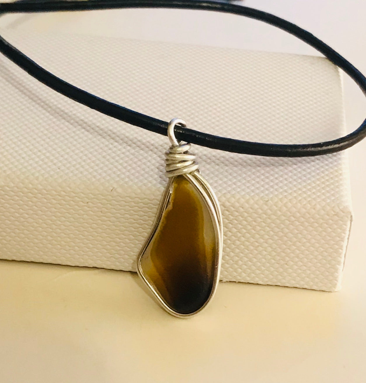 Men's Brown Seaham Multi on a Black Leather Thong Necklace