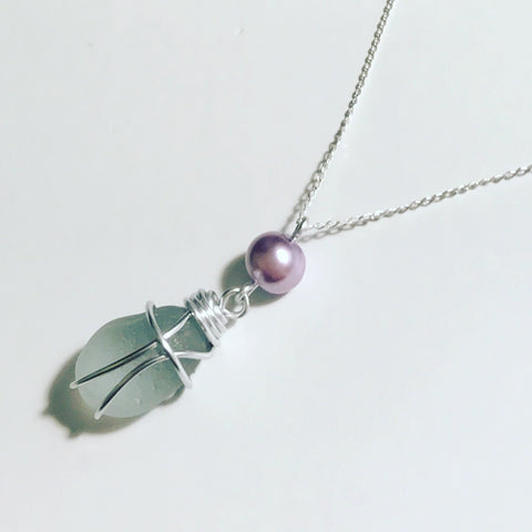 "Seaham Sea Glass Clear - on 20"" Sterling Silver Chain"
