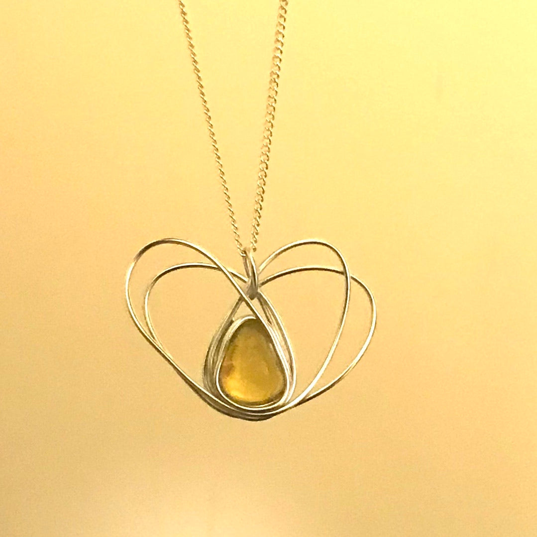 "Rare Yellow Seaham Sea Glass Set onto a Heart Pendant on a 20"" Sterling Silver Chain"