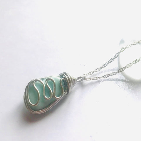 Baby Blue Seaham Milky Sea Glass Pendant