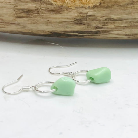 Green Seaham Milky Sea Glass Earrings