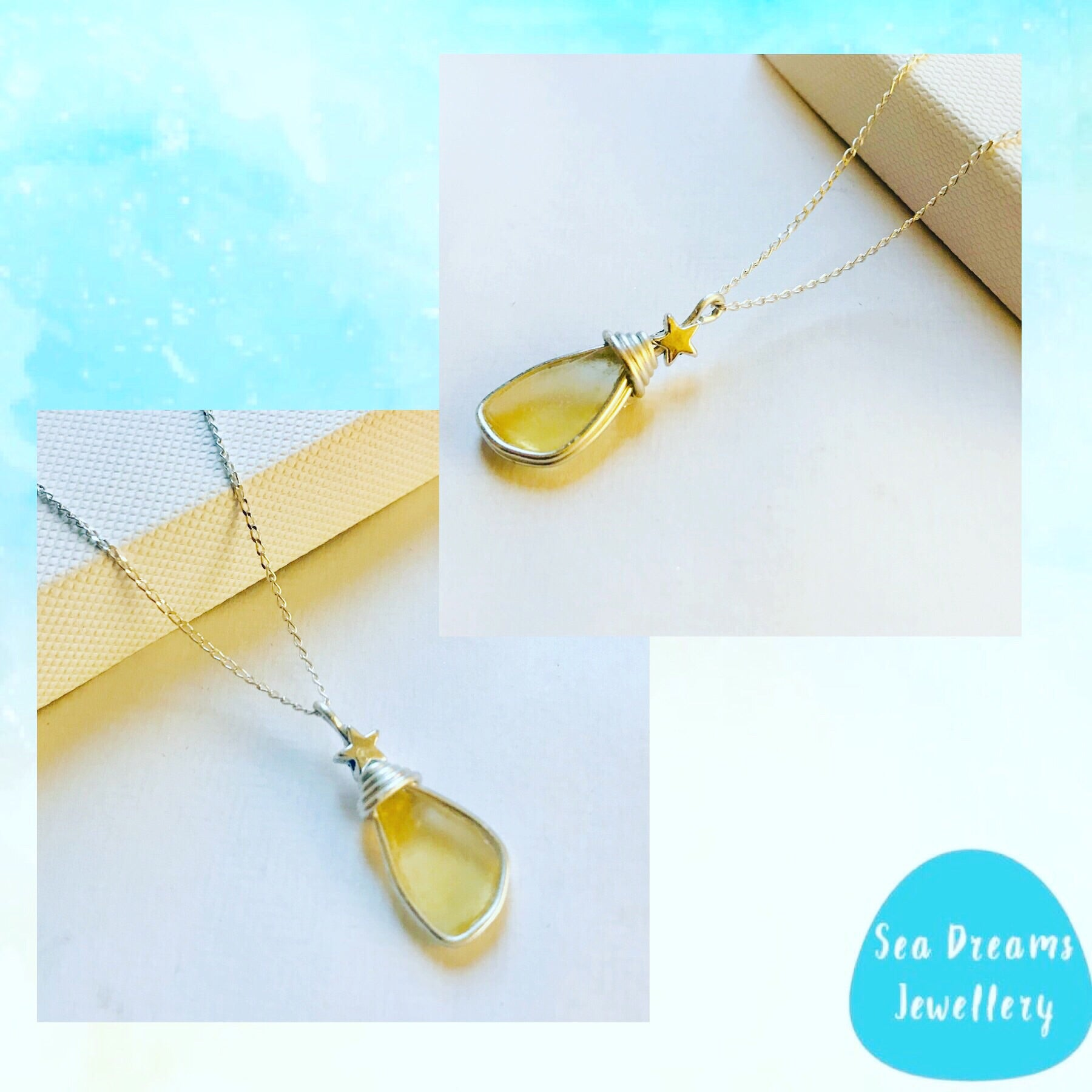 "Yellow Mini Stars Seaham Sea Glass Pendant On a 20"" Sterling Silver Chain"
