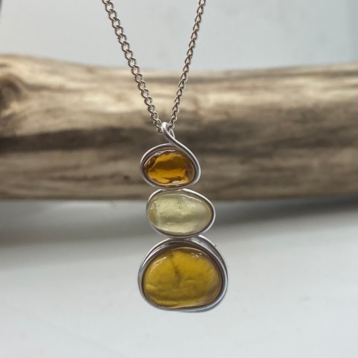 Three Piece Amber Seaham Sea Glass Pendant