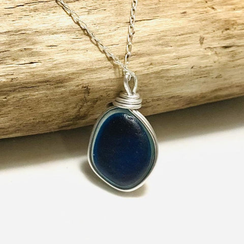 Large Blue Multi Tone Seaham Sea Glass Pendant