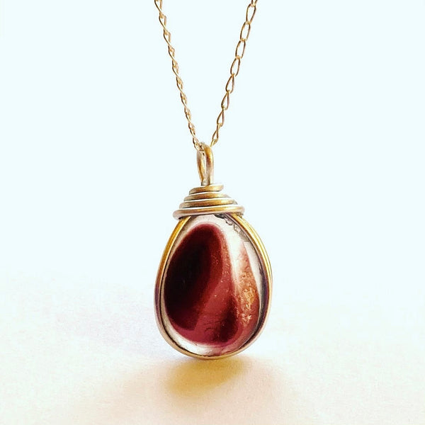 Large Burgundy Seaham Sea Glass Multi Pendant