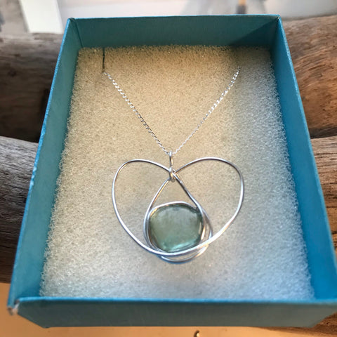 "Aqua Seaham Sea Glass Hand Crafted Pendant on a 20"" Sterling Silver Chain"