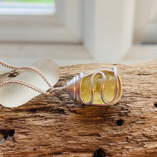 Sunny Yellow Seaham Sea Glass Waves Pendant
