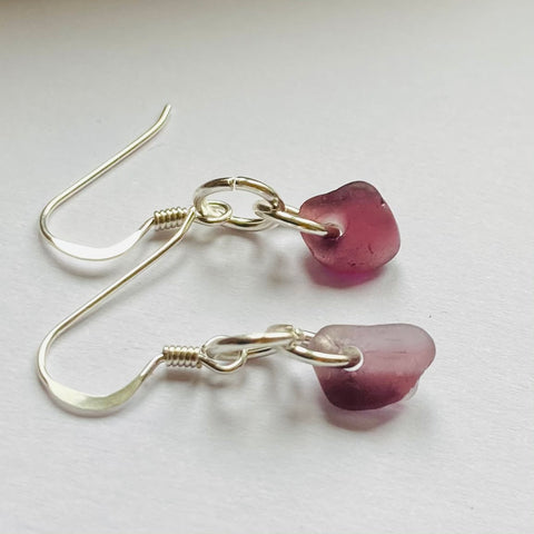 Rare Purple Seaham Sea Glass Earrings